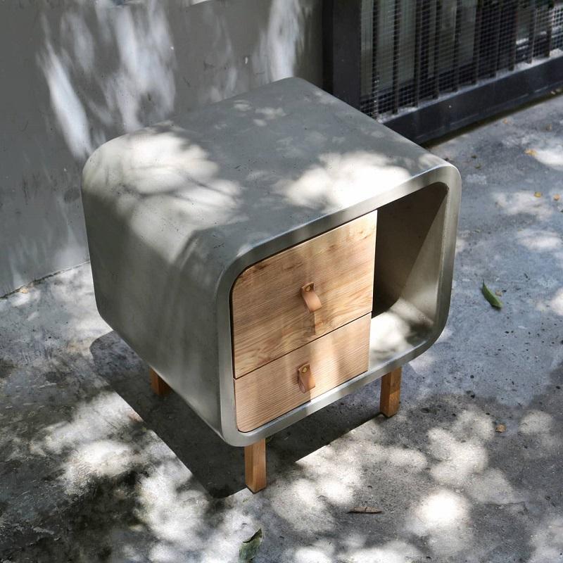 ミニマルスタイルの2段収納キューブ型キャビネットコンクリート製 ナイトテーブル キャビネット 収納 木製 サイドテーブル サイドチェスト おしゃれ 輸入家具 ミニマルデザイン シンプル 2段収納 引き出し