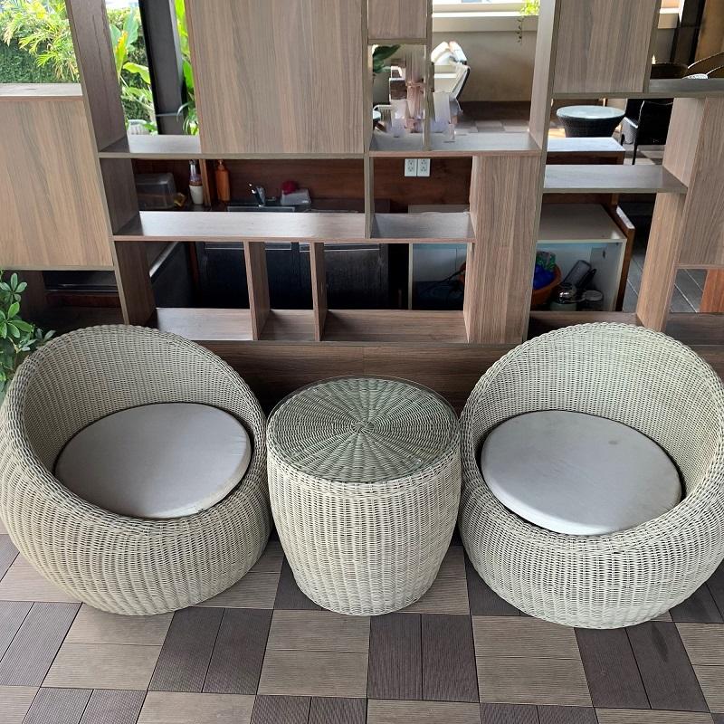 ガーデンチェア リゾートソファー 1人掛け ラタン調ガーデンソファーセット 1人掛け ガーデンチェア 屋外チェア ラウンドソファ テラス ラタン調 アジアン家具 ベトナム リゾート 屋外用 3点セット