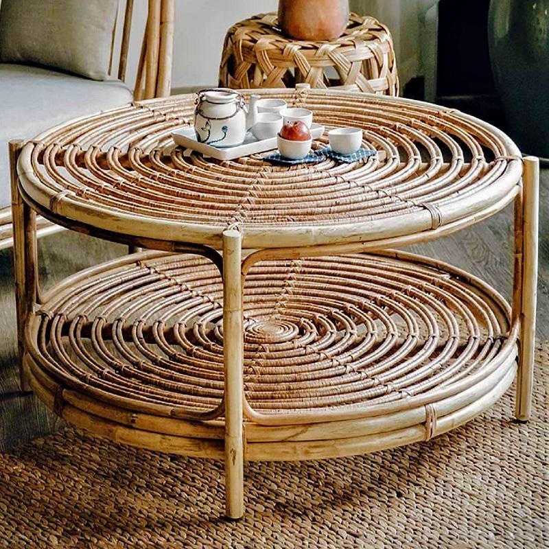 ナチュラルな雰囲気でお洒落空間を創り出すラタン製ローテーブル丸テーブル 籐のテーブル ラタン家具 サイドテーブル ローテブル 70cm 棚付き おしゃれ 2段テーブル ミニテーブル 円卓 軽量 天然素材 おしゃれ アジアン