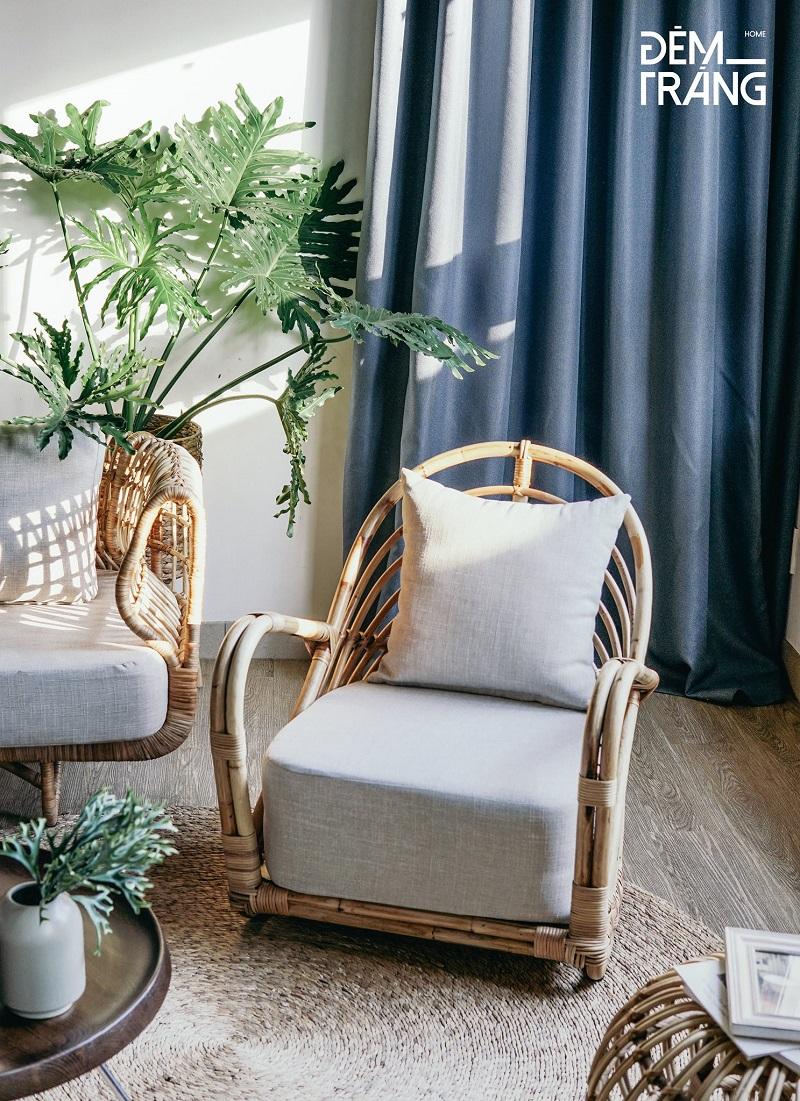 天然素材の籐を仕様したラタン製デザイナーズチェアラタンチェア ラウンジチェア デザイナーズチェア 籐の椅子 パーソナルチェア ラタン家具 籐椅子 一人掛け クッション付 座椅子 木製 おしゃれ#2
