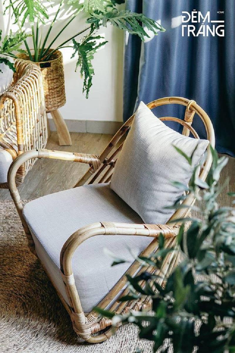 天然素材の籐を仕様したラタン製デザイナーズチェアラタンチェア ラウンジチェア デザイナーズチェア 籐の椅子 パーソナルチェア ラタン家具 籐椅子 一人掛け クッション付 座椅子 木製 おしゃれ#3