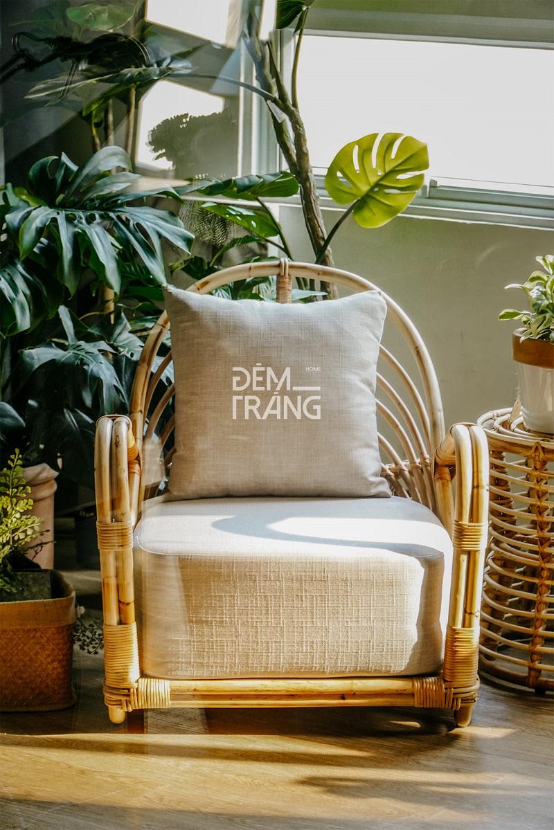 天然素材の籐を仕様したラタン製デザイナーズチェアラタンチェア ラウンジチェア デザイナーズチェア 籐の椅子 パーソナルチェア ラタン家具 籐椅子 一人掛け クッション付 座椅子 木製 おしゃれ#4