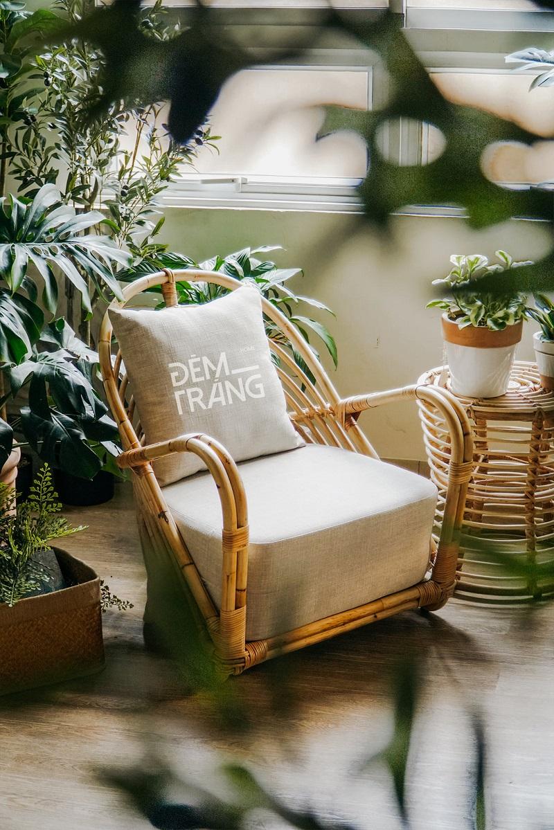 天然素材の籐を仕様したラタン製デザイナーズチェアラタンチェア ラウンジチェア デザイナーズチェア 籐の椅子 パーソナルチェア ラタン家具 籐椅子 一人掛け クッション付 座椅子 木製 おしゃれ#5