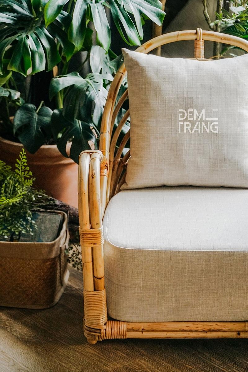 天然素材の籐を仕様したラタン製デザイナーズチェアラタンチェア ラウンジチェア デザイナーズチェア 籐の椅子 パーソナルチェア ラタン家具 籐椅子 一人掛け クッション付 座椅子 木製 おしゃれ#6