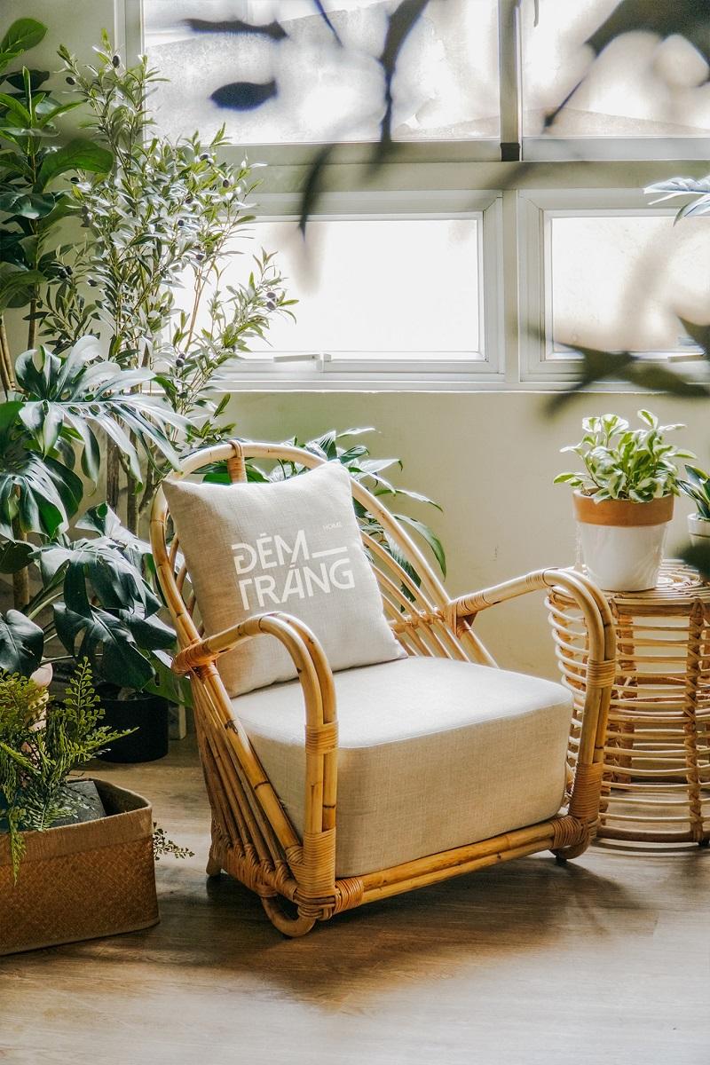 天然素材の籐を仕様したラタン製デザイナーズチェアラタンチェア ラウンジチェア デザイナーズチェア 籐の椅子 パーソナルチェア ラタン家具 籐椅子 一人掛け クッション付 座椅子 木製 おしゃれ#7