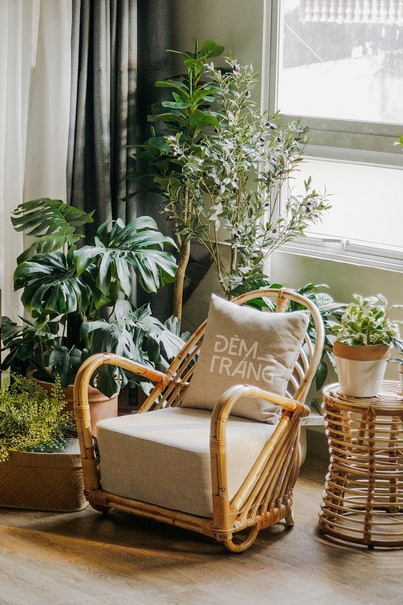 天然素材の籐を仕様したラタン製デザイナーズチェアラタンチェア ラウンジチェア デザイナーズチェア 籐の椅子 パーソナルチェア ラタン家具 籐椅子 一人掛け クッション付 座椅子 木製 おしゃれ#8
