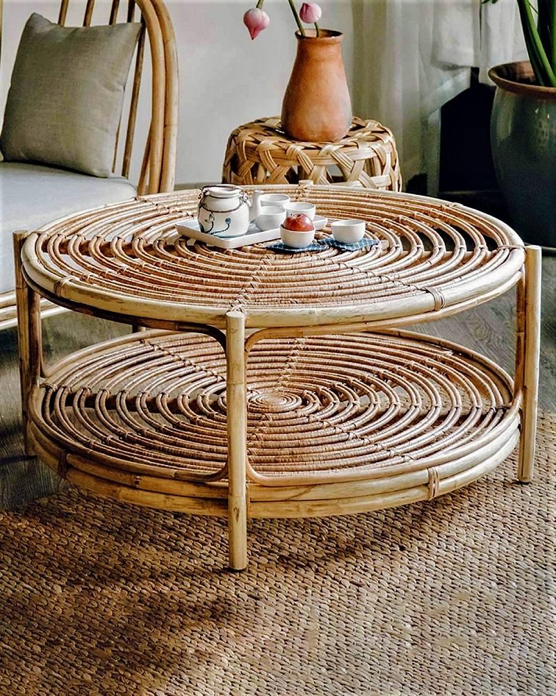 ナチュラルな雰囲気でお洒落空間を創り出すラタン製ローテーブル丸テーブル 籐のテーブル ラタン家具 サイドテーブル ローテブル 70cm 棚付き おしゃれ 2段テーブル ミニテーブル 円卓 軽量 天然素材 おしゃれ アジアン#0