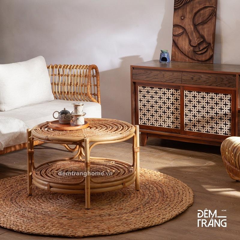 ナチュラルな雰囲気でお洒落空間を創り出すラタン製ローテーブル丸テーブル 籐のテーブル ラタン家具 サイドテーブル ローテブル 70cm 棚付き おしゃれ 2段テーブル ミニテーブル 円卓 軽量 天然素材 おしゃれ アジアン#3