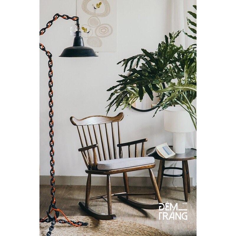 耐久性に優れたアッシュウッドを使用したロッキングチェアロッキングチェア 木製 籐 アッシュウッド デザイナーズチェアー ラウンジチェア ラタン家具 椅子 輸入家具 クッション付 座り心地良い 揺れる おしゃれ#2