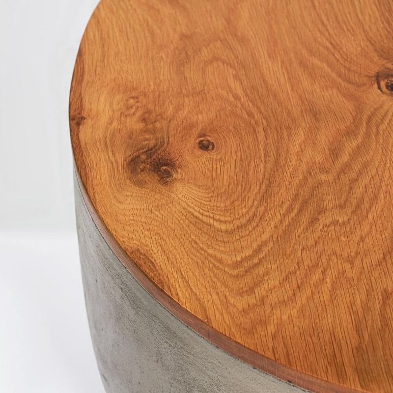 オーク材を仕様した木目調の丸形コンクリートテーブルコンクリート製 デザイナーズテーブル オーク材 木目調 円形型 サイドテーブル 丸 センターテーブル おしゃれ コーヒーテーブル 輸入家具 コンクリート家具#6