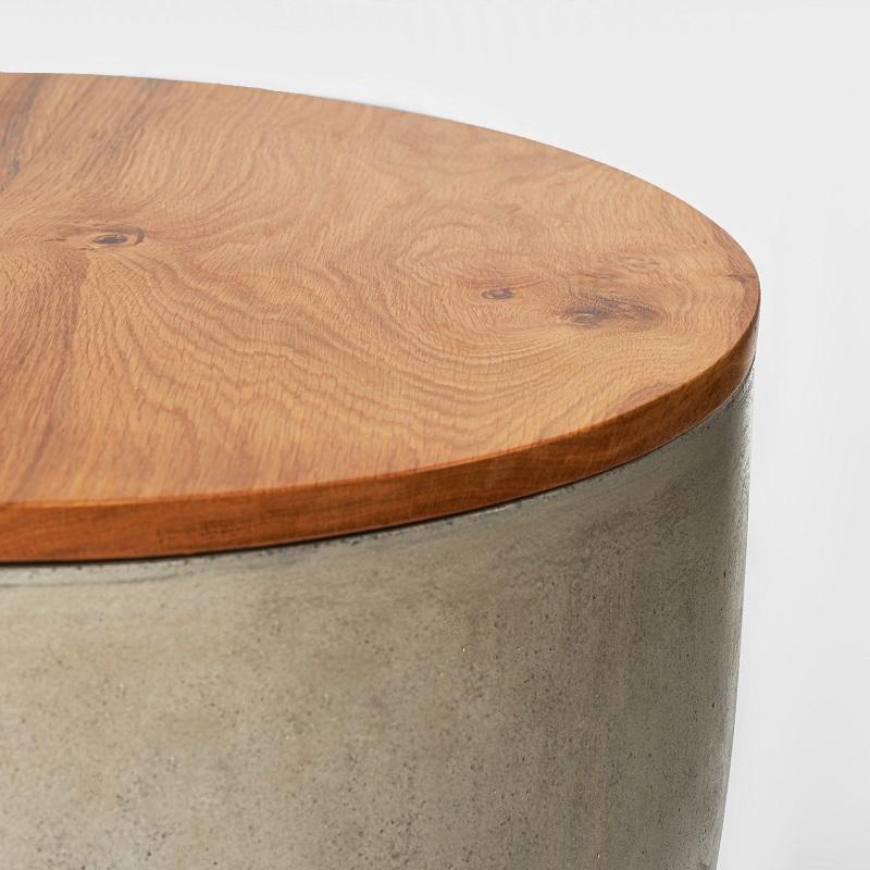 オーク材を仕様した木目調の丸形コンクリートテーブルコンクリート製 デザイナーズテーブル オーク材 木目調 円形型 サイドテーブル 丸 センターテーブル おしゃれ コーヒーテーブル 輸入家具 コンクリート家具#8