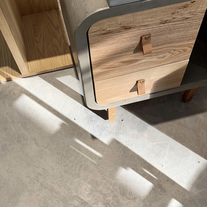 ミニマルスタイルの2段収納キューブ型キャビネットコンクリート製 ナイトテーブル キャビネット 収納 木製 サイドテーブル サイドチェスト おしゃれ 輸入家具 ミニマルデザイン シンプル 2段収納 引き出し#7
