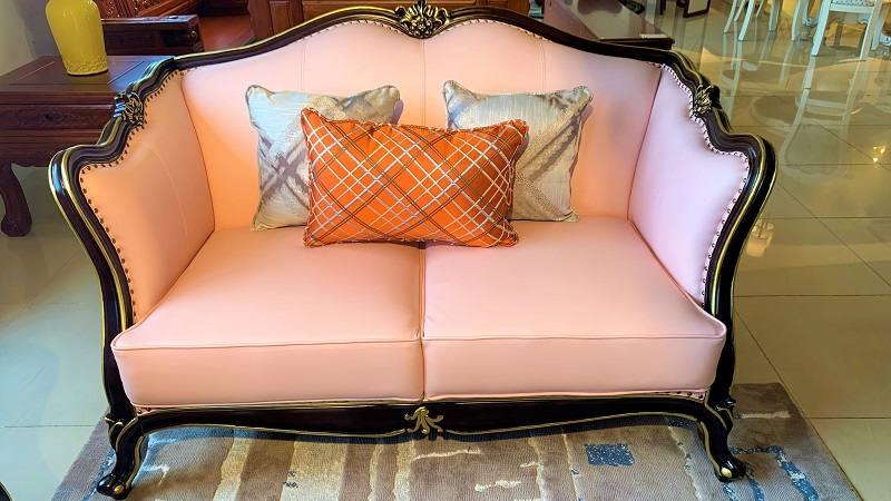 かわいいピンク色の7.5人用 3点ソファーセットデザイナーズソファ 姫系 3点セット 輸入家具 ピンク 猫脚 かわいい 高級ソファー リビングソファー ソファーセット エステ 待合室ソファー 椅子 応接セット#3